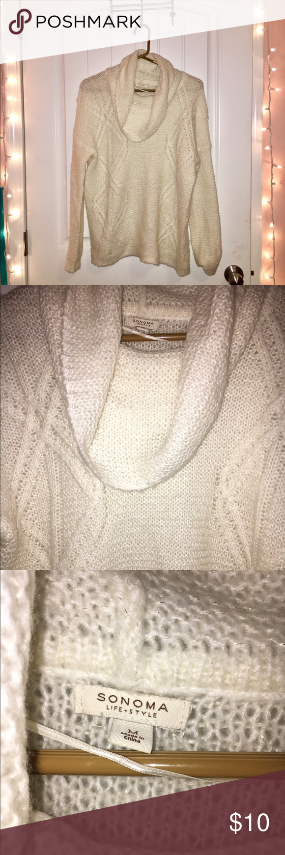 Cream Cowl Neck Sweater Very trendy! Cream colored cowl neck ...