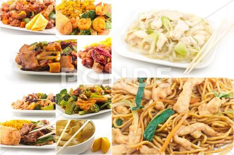 Chinese Food Collage Stock Photos Ad Food Chinese Collage