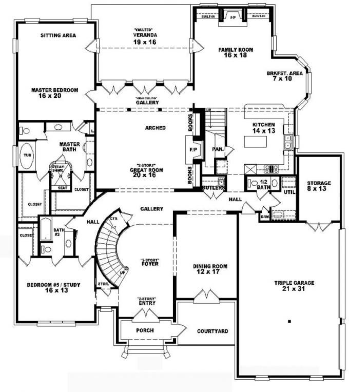 #653748 - Two-story 4 bedroom, 4.5 bath french style house plan : House Plans, Floor Plans, Home Plans, Plan It at HousePlanIt.com