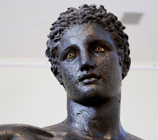 Youth from Antikythera, 4th century BC bronze statue, possibly by Praxiteles, National Archaeological Museum, Athens. http://commons.wikimedia.org/wiki/File:NAMA_X15118_Marathon_Boy_7.JPG