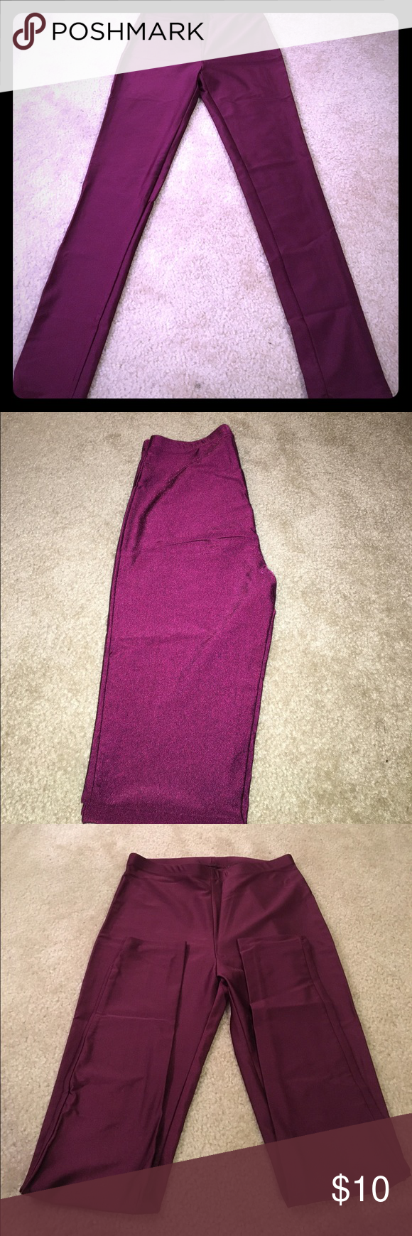 Leggings 82% Nylon 18% Polyester. Maroon/burgundy. Very comfortable & they have a sheen to them. Forever 21 Pants Leggings