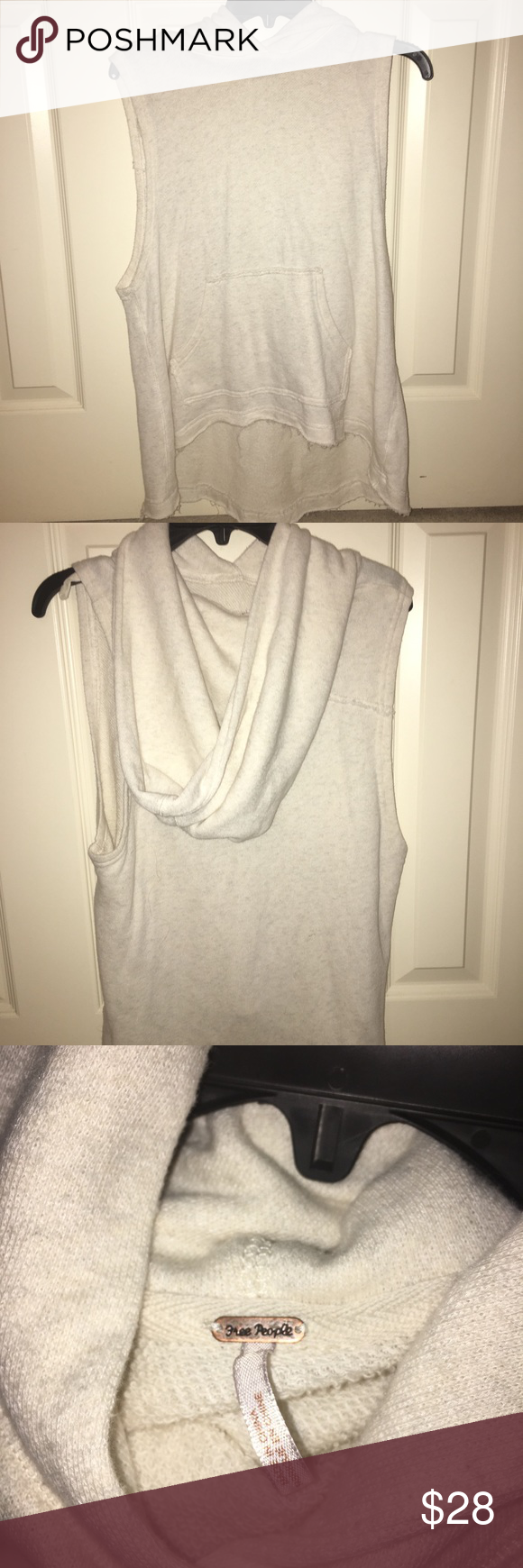 Free People sleeveless top with hood Never been worn!! Really cute. Has a pocket. Free People Tops