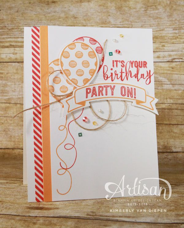 The Balloon Adventures stamp set from Stampin' Up! is one of the many amazing birthday stamp sets in the new occasions catalog.