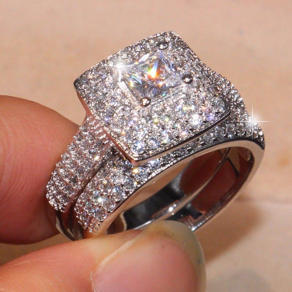 10K White Gold Over 2CT Princess Round Diamond Wedding