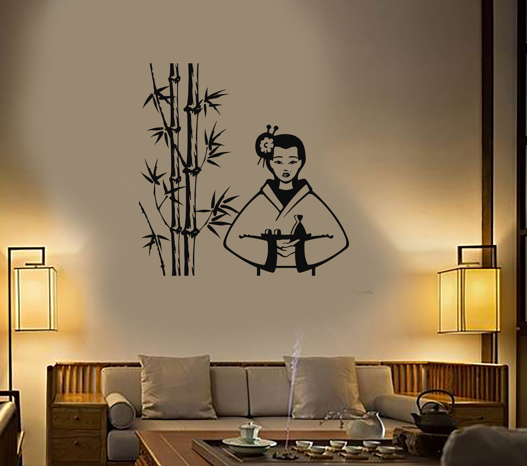 Vinyl Decal Geisha Sushi Oriental Decor Asian Restaurant Wall - Vinyl wall decals asian