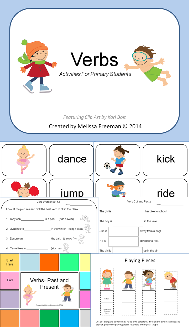 Verbs Games Activities Matching Games Game Boards And Worksheets