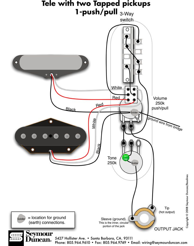 Tele Wiring Diagram - 2 tapped pickups, 1 push/pull | Telecaster ...