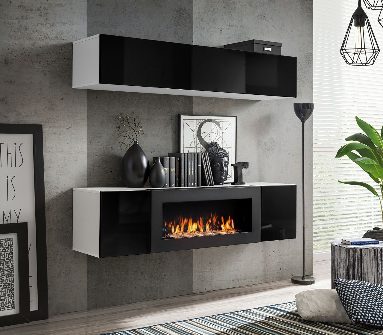 Idea N1 Wall Cabinet With Fireplace Living Room Wall Units Living Room Entertainment Center Modern Wall Units