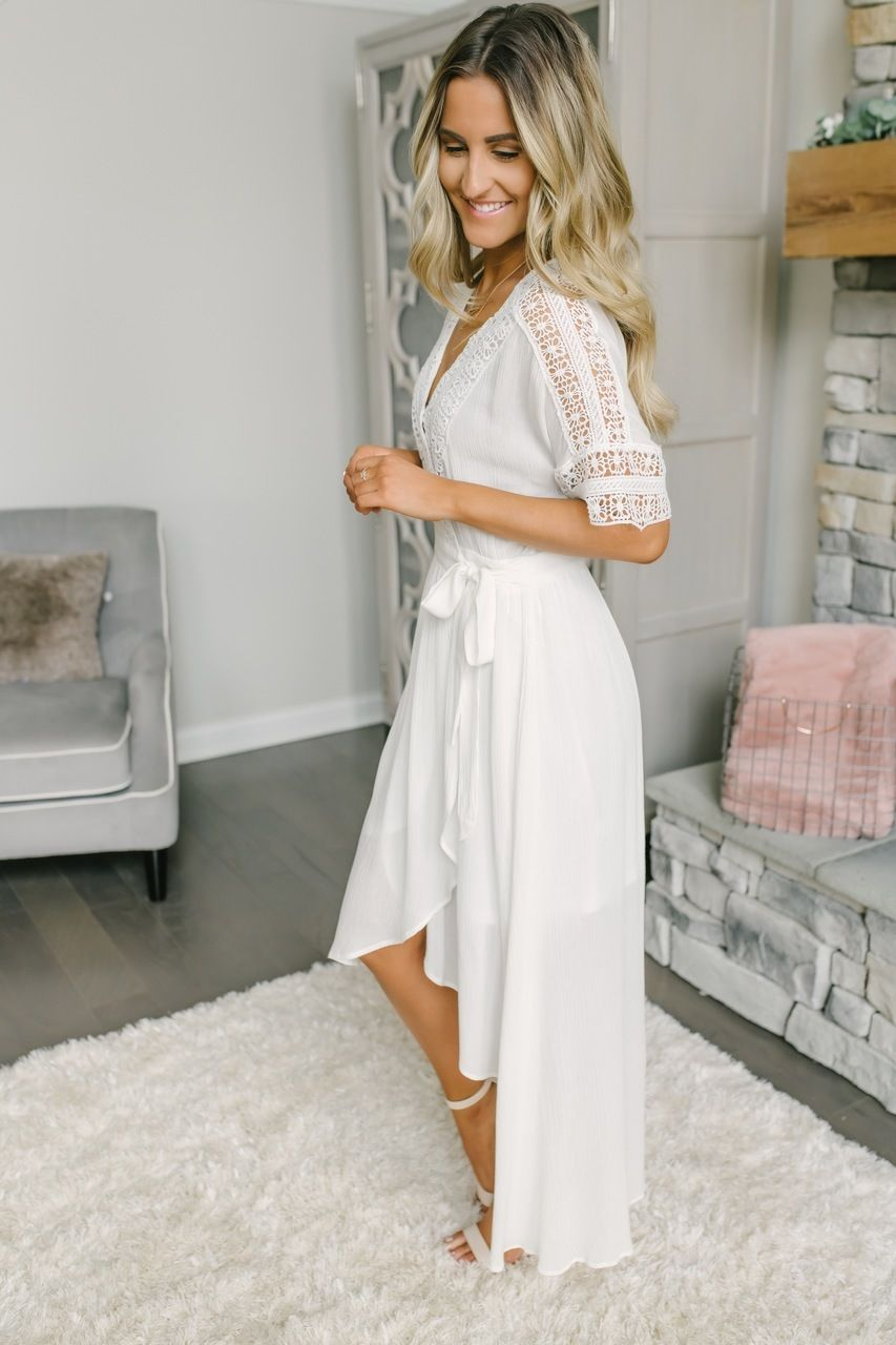 Short Sleeve Crochet High Low Wrap Maxi Off White White Bridal Shower Dress High Low Wedding Dress Country White Short Dress [ 1280 x 853 Pixel ]