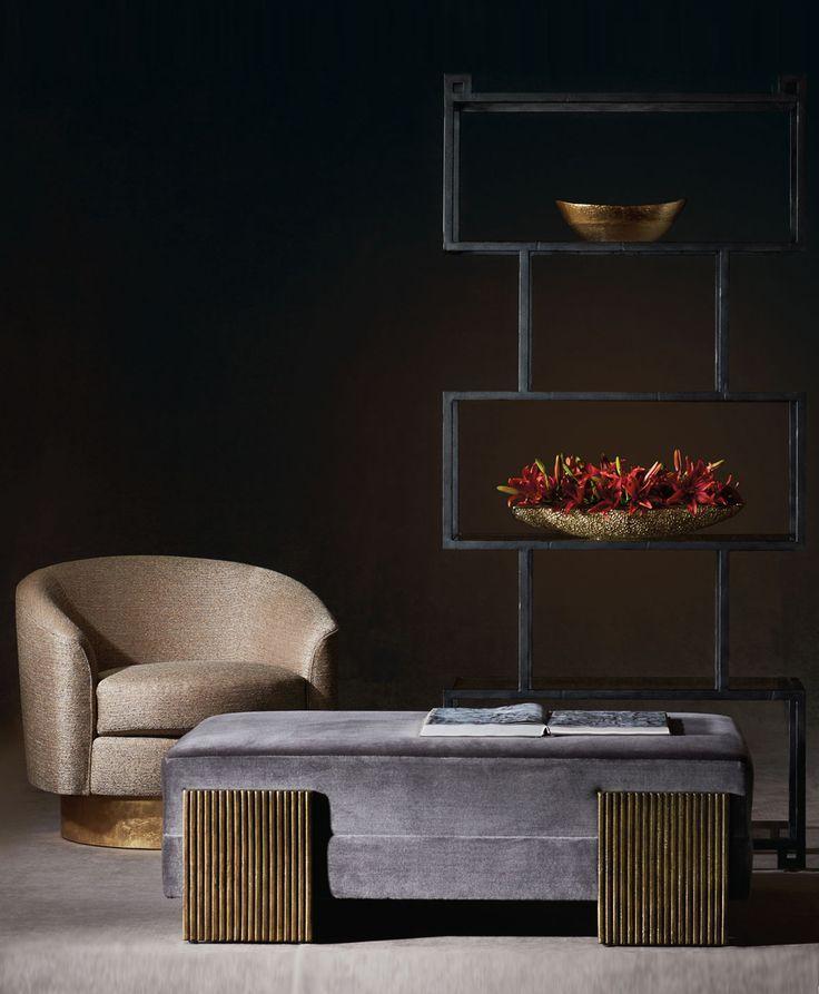 Bernhardt Interiors | Camino Swivel Chair, Bennison Cocktail Ottoman, Fowler Etagere