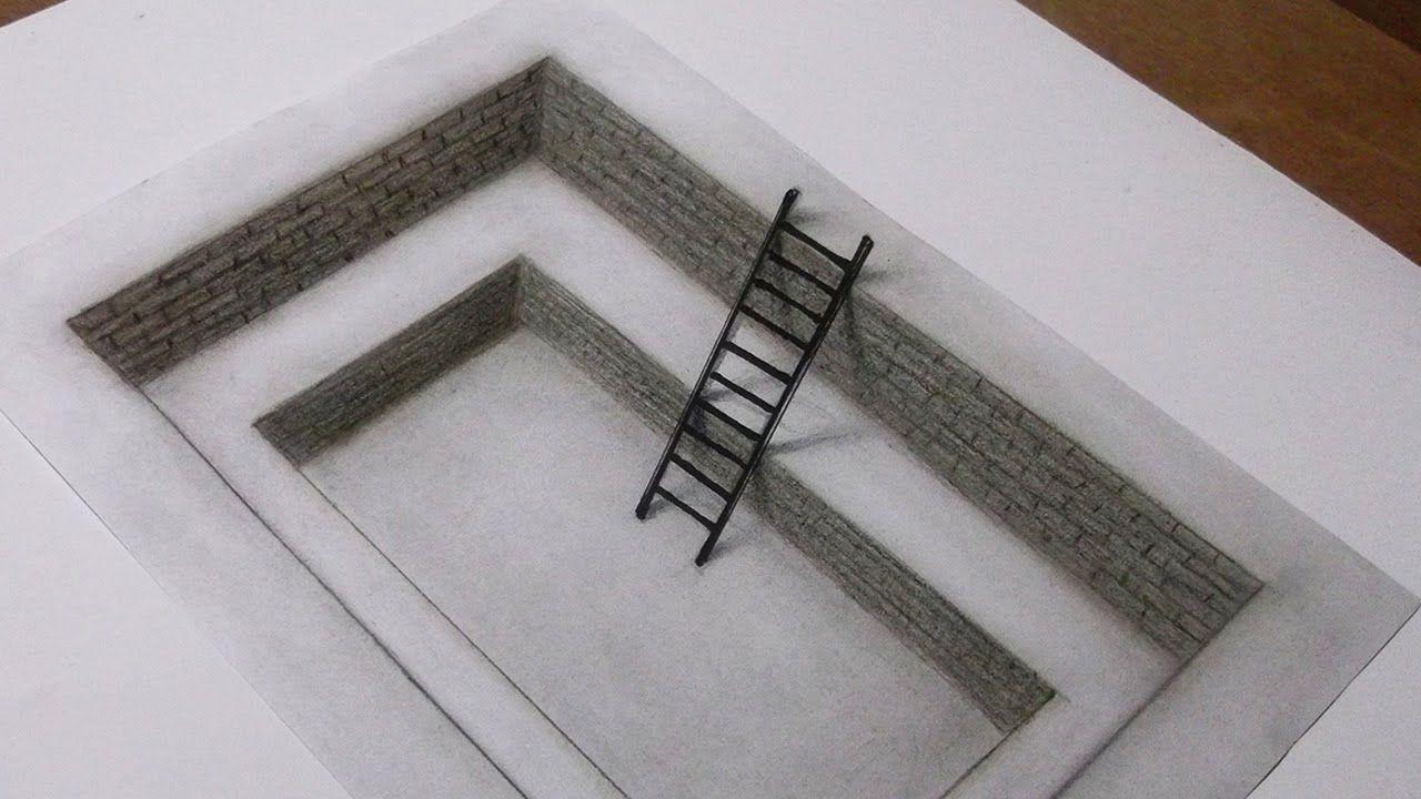 3d Art Drawing Ladder Inside The Hole 3d Art Drawing Geometric Design Art 3d Drawings