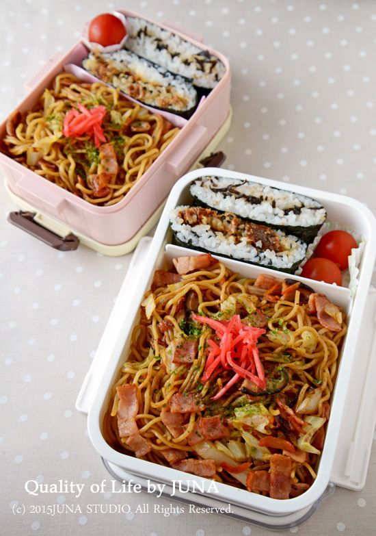 Japanese Yakisoba Noodle Bento with Onigirazu Rice Sandwiches 焼きそば & おにぎらず弁当