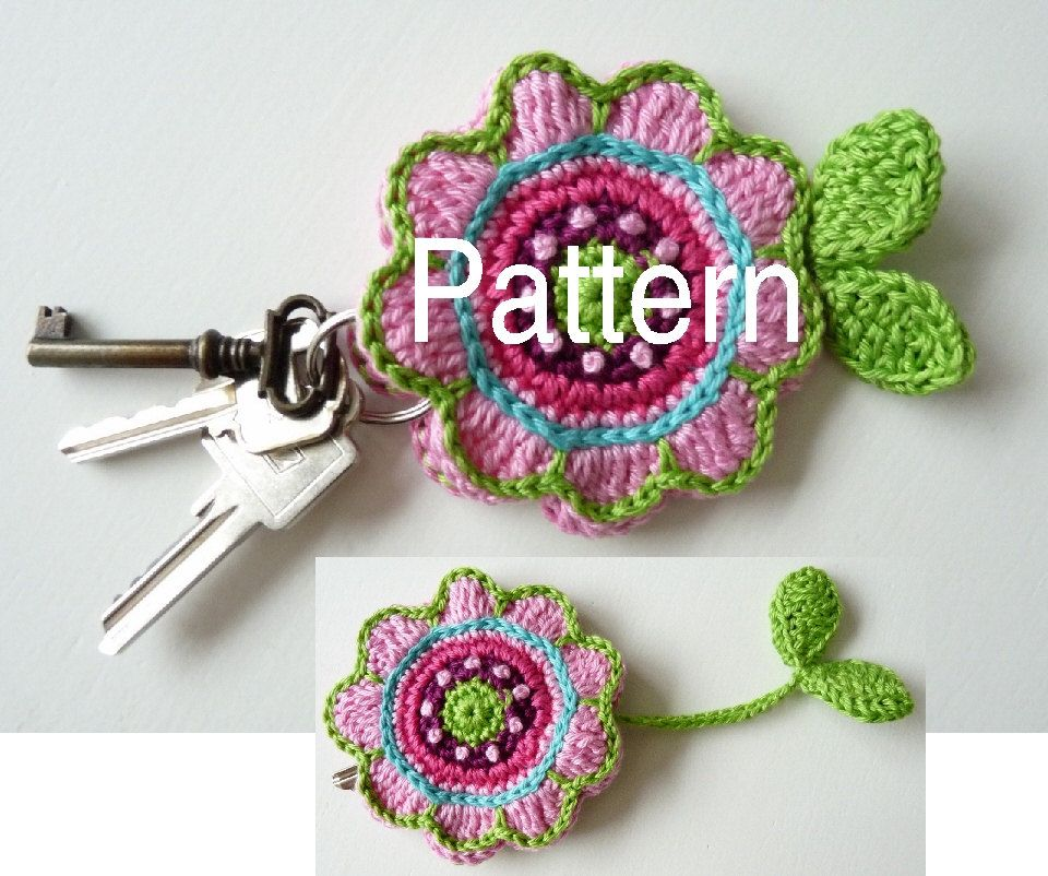Pattern Key Cover Flower via Etsy.  This is so neat ... Pull the leaves and the your keys go inside the flower