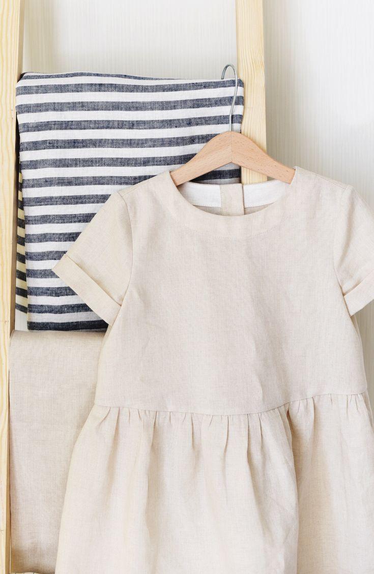 Girls simple handmade linen dress tsiomikkids on etsy
