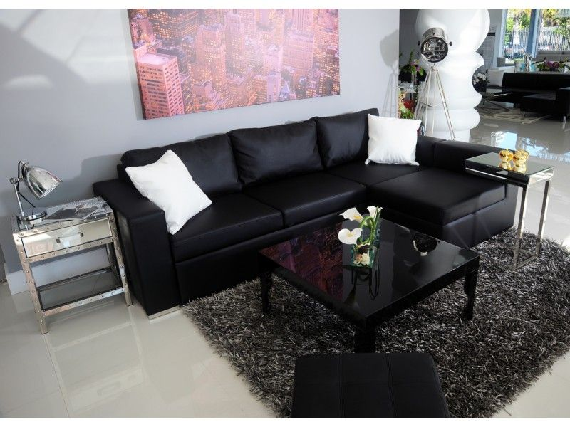 Modern Sectional Black Leather Sofa Living Room Leather