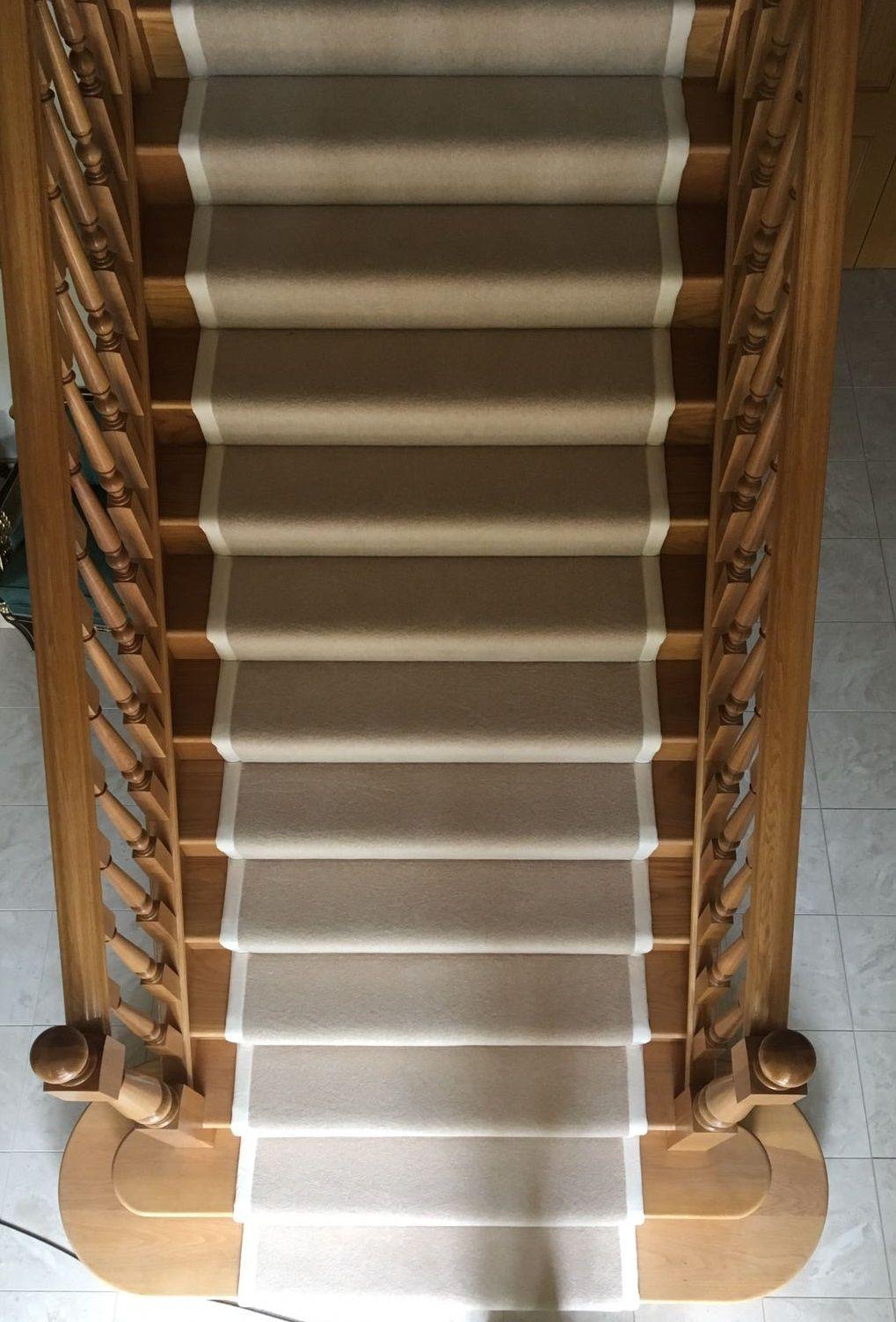 Best Cream Wool Carpet Fitted As Bespoke Stair Runner To Oak 400 x 300