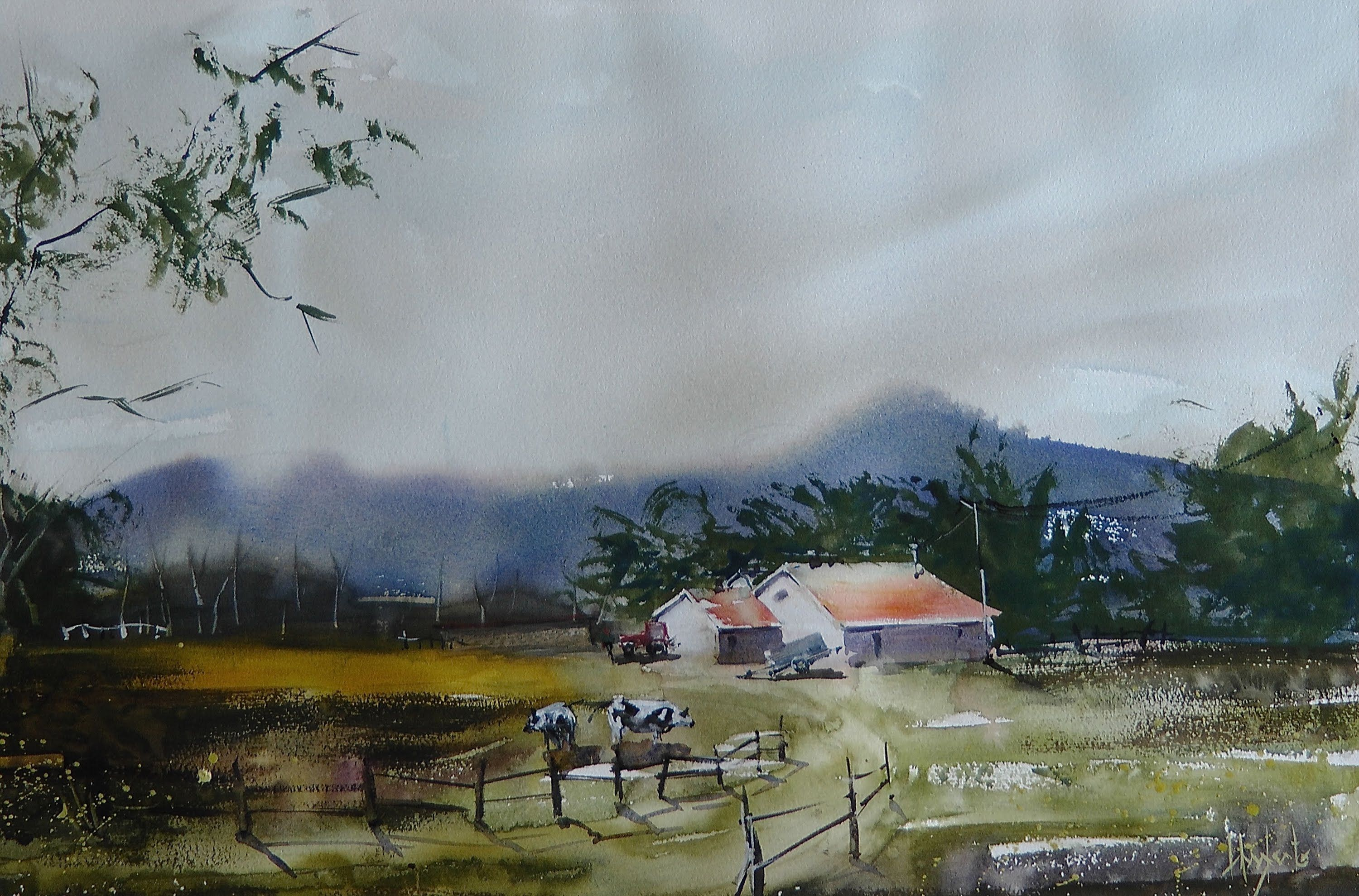 Demonstration Landscape Par Umberto Rossini Aquarelle