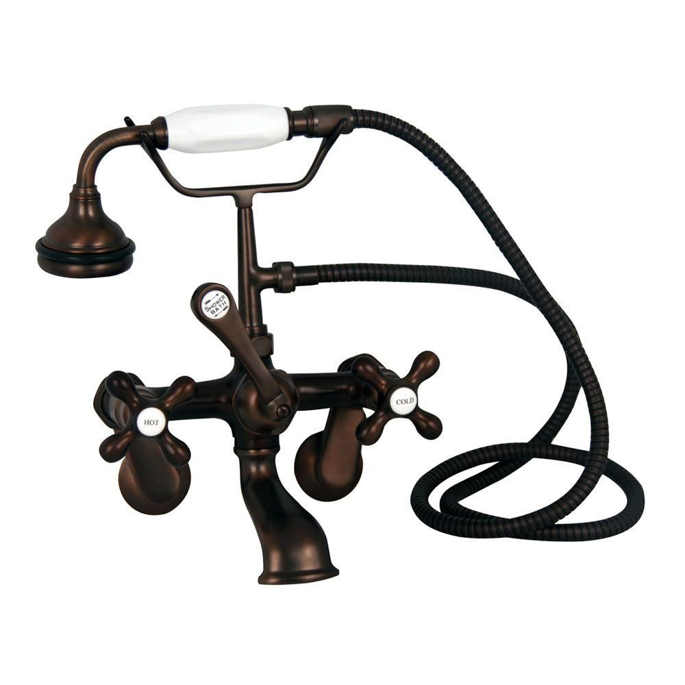 Barclay Products Metal Cross 3 Handle Claw Foot Tub Faucet With Handshower In Oil Rubbed Bronze Tub Faucet Faucet Oil Rubbed Bronze