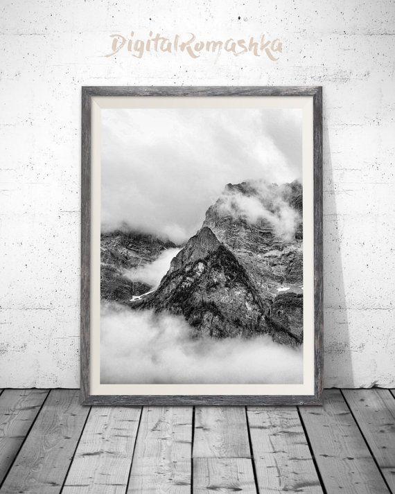 Mountain print black and white mountain mountain art