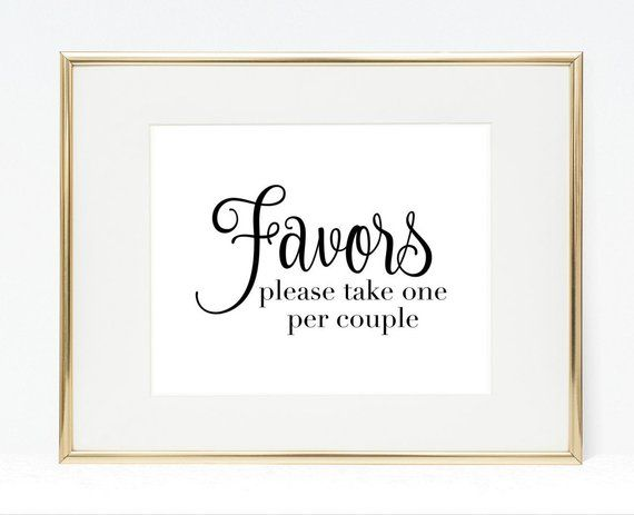 Favors Sign Please Take One Per Couple 8x10 Printable Wedding Sign