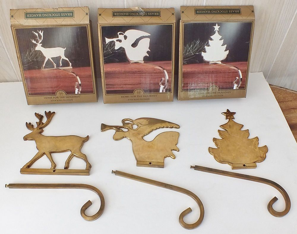 Vintage 3 BRASS Reindeer, Angel, Tree Mantel STOCKING HOLDERS Christmas Heavy #HomefortheHolidays