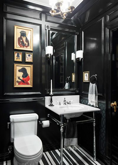 Traditional Powder Room by Donna Dotan Photography Decorating