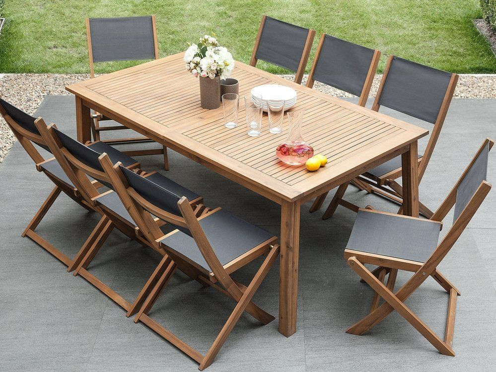 8 Seater Garden Dining Set With 2 Sun Loungers Acacia Wood Cesana Outdoor Furniture Sets Garden Table Garden Dining Set