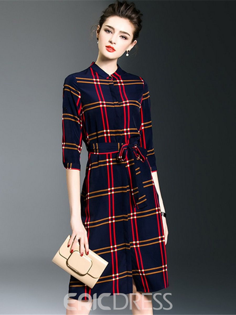 6d06b2b3d63 Ericdress OL Plaid Stand Collar Lace-Up Casual Dress  45.22 ...