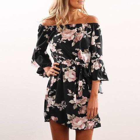 025fea0ac8e Womens Mini Casual Summer Beach Plus Size Off Shoulder Bohemian Floral  Print Sexy Fashion Boho Dress