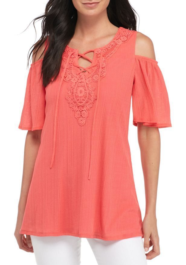 4eaf109a8f7 New Directions Womens Coral Lace Up Crochet Cold Shoulder Grid Knit Top Size  S M  NewDirections  Blouse  Casual