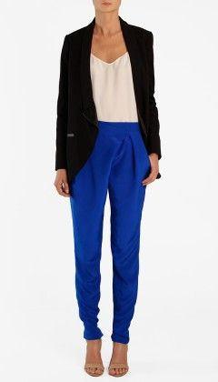 Bright pants with black and white on top