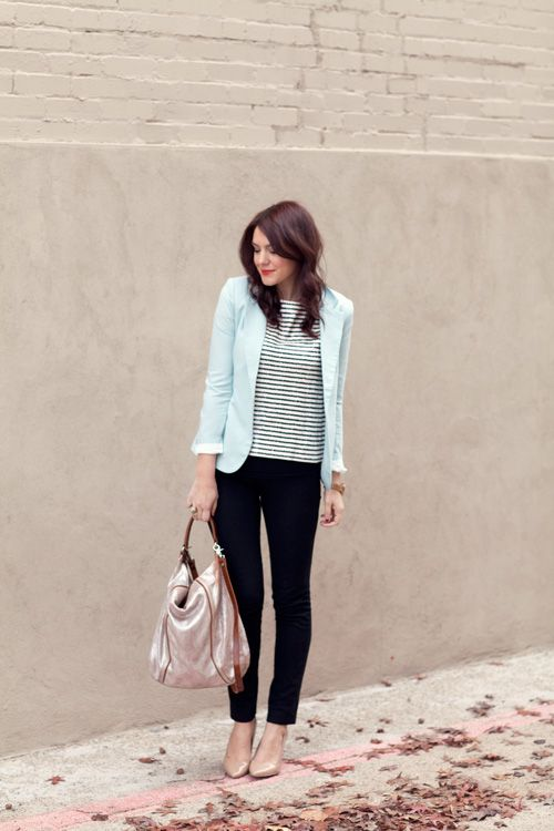 mint + stripes + black + nude shoes