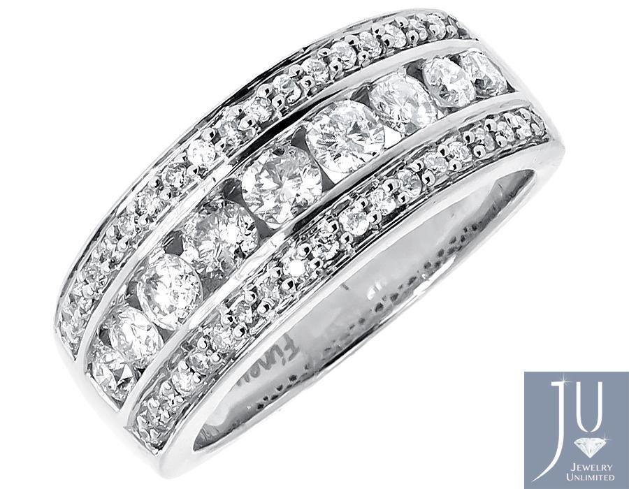 14k White Gold Mens Three Row Round Channel Diamond 8mm Wedding Band Ring 1 25ct 8mm Wedding Band Rings Mens Wedding Bands Diamond Wedding Bands