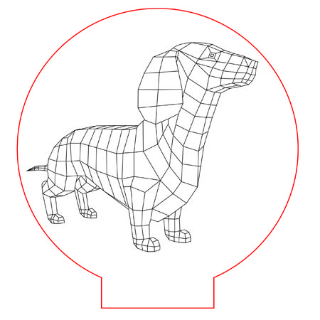 Dachshund Dog 3d Illusion Lamp Vector File For Laser And Cnc 3bee Studio 3d Illusion Lamp 3d Illusions Geometric Drawing