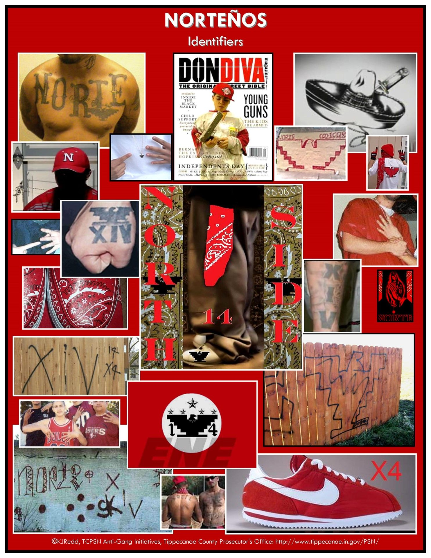 A Collage Of Product Identifiers And Tattoos Of The Nortenos Gang