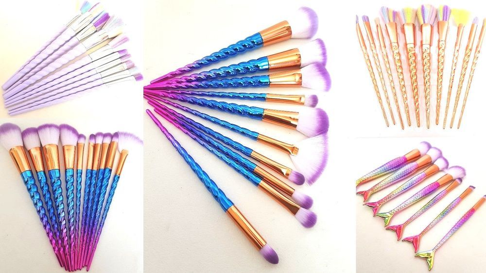 Make up Brushes Set 10Pcs Unicorn Diamond 7pc