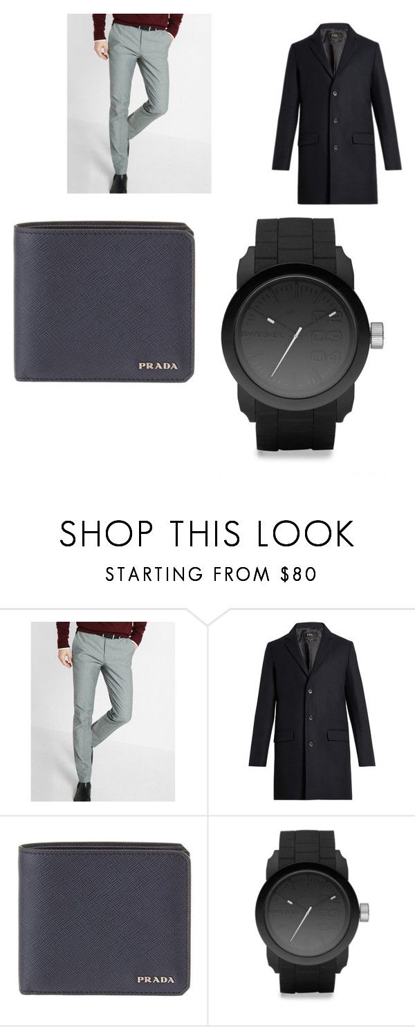 """MUski Poslovni set"" by durakkemal ❤ liked on Polyvore featuring Express, A.P.C., Prada and Diesel"