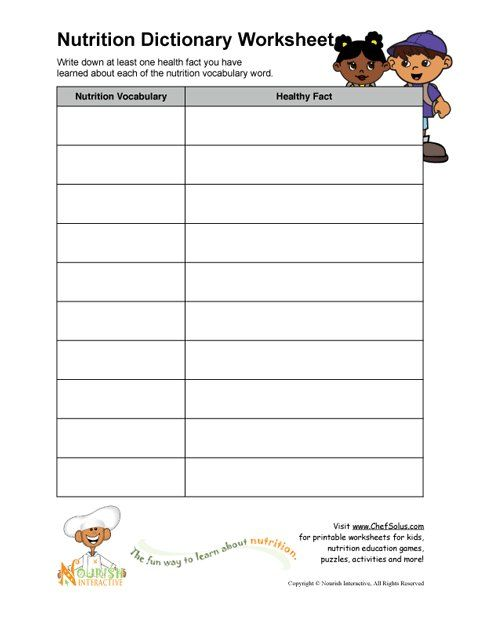 Free printable worksheets- elementary school nutrition education ...