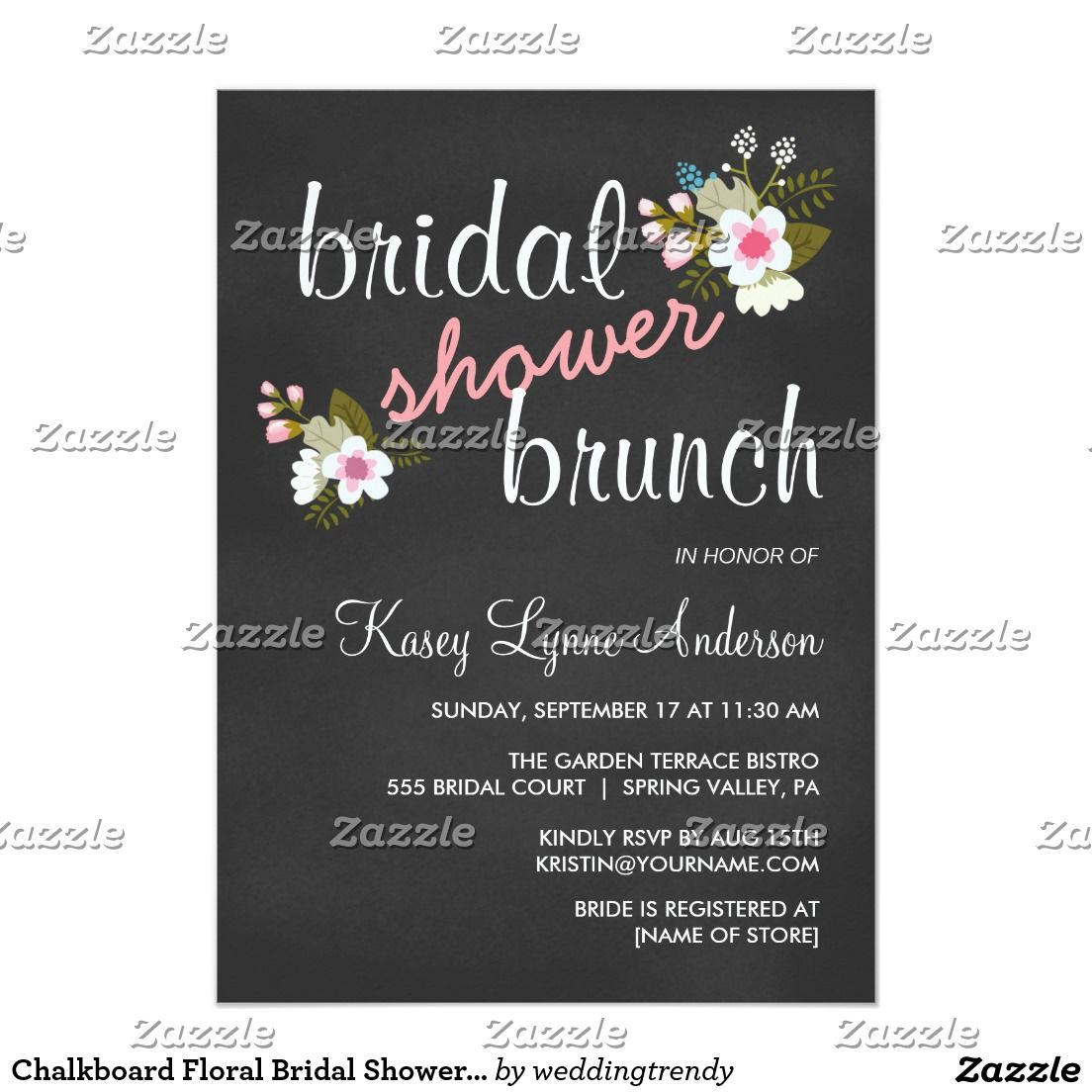 Chalkboard Floral Bridal Shower Brunch Invites  Chalkboard Bridal