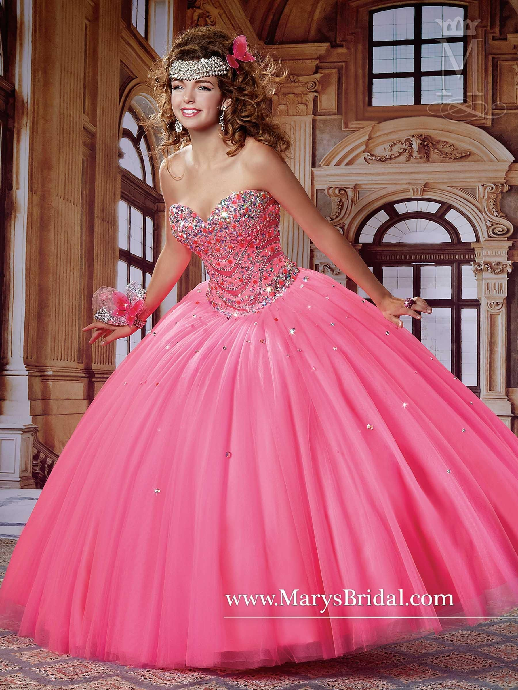 Mary\'s Neon Pink Quinceanera Dresses 2015 Fall Sweetheart Neck ...