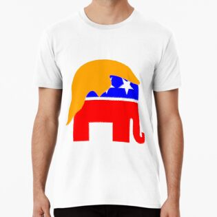 Republican Symbol Of Elephant With Blond Wig Hoodie Shirt Long Hoodie Classic T Shirts
