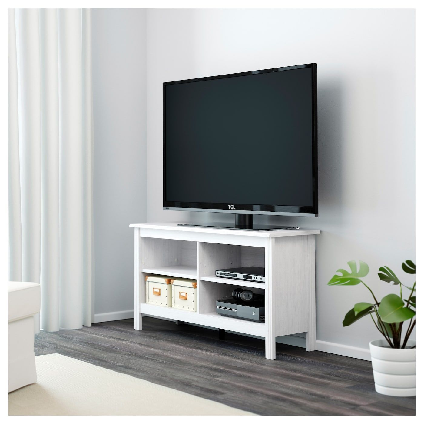 Brusali Tv Bank Weiss Tv Unit Farmhouse Brusali Tv Bank Weiss Ikea In 2020 Bedroom Tv Stand White Tv Stands Tv Bench