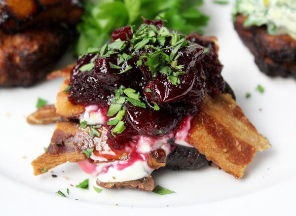 Mashed Sweet Potato Latkes with brown sugar créme fraîche, turkey bacon, toasted pecans, cranberry sauce & minced cilantro