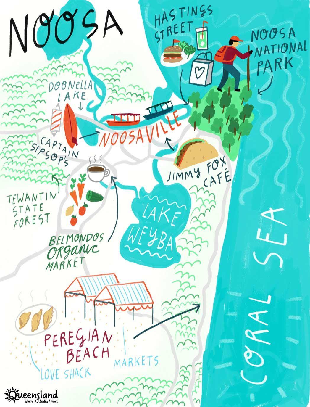Noosa Sunshine Coast itinerary map noosa Pinterest Australia