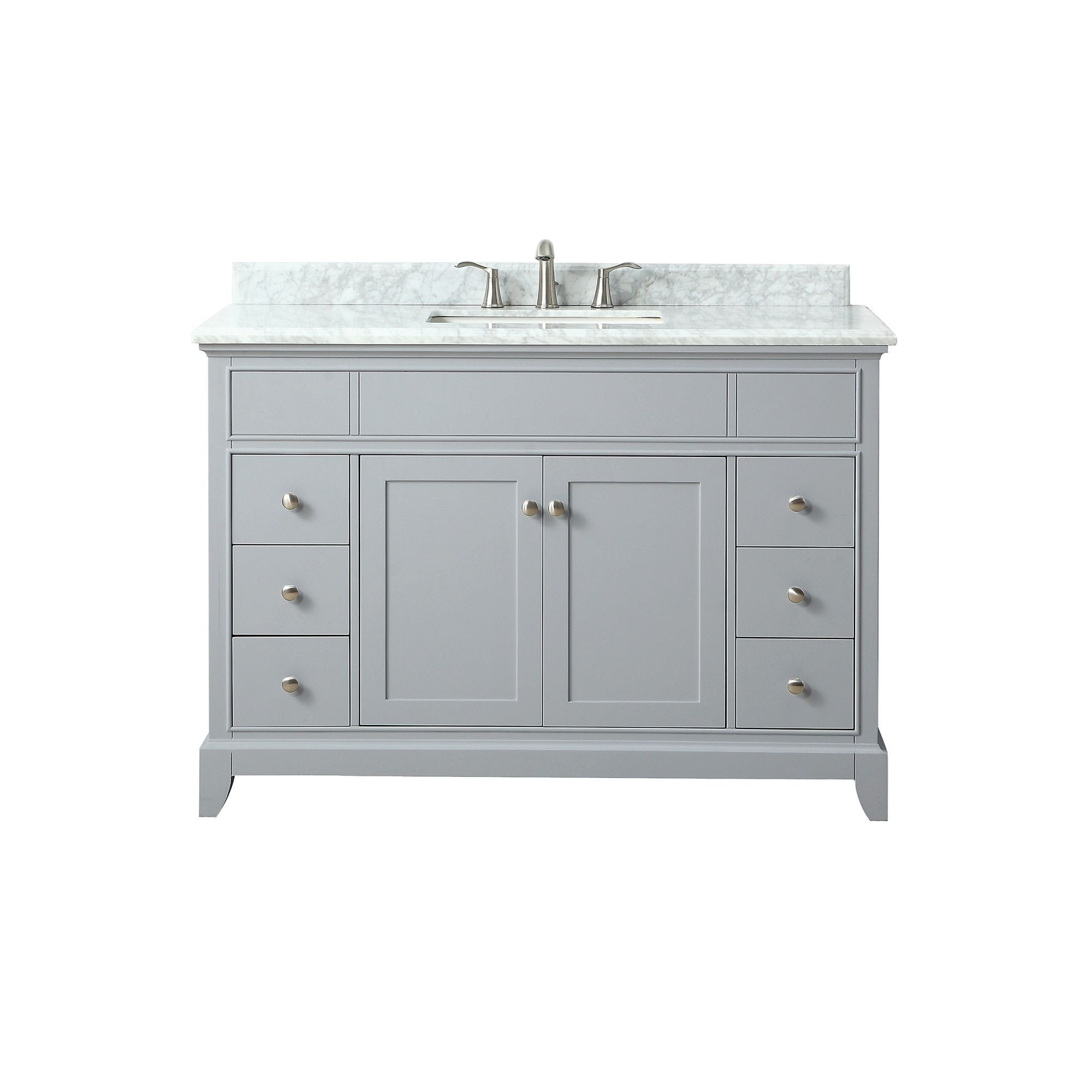 Azzuri Aurora 49 In Vanity In Light Gray Finish With Carrara