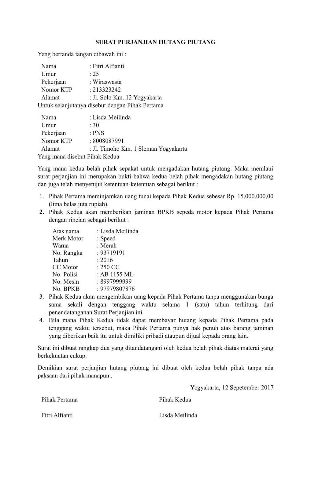Contoh Surat Perjanjian Hutang Piutang Sederhana Dengan Jaminan Bermaterai Surat Inspirasi Menulis Uang