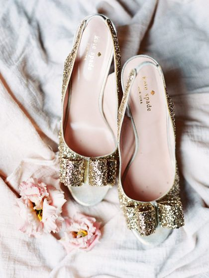 These Gold Kate Spade Peep Toe Heels Look So Pretty With A Wedding