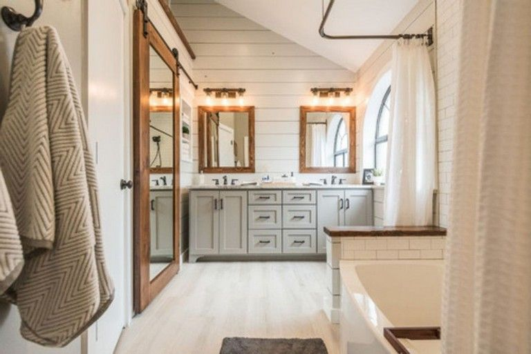 73+ Marvelous Farmhouse Master Bathroom Decor Ideas and Remodel