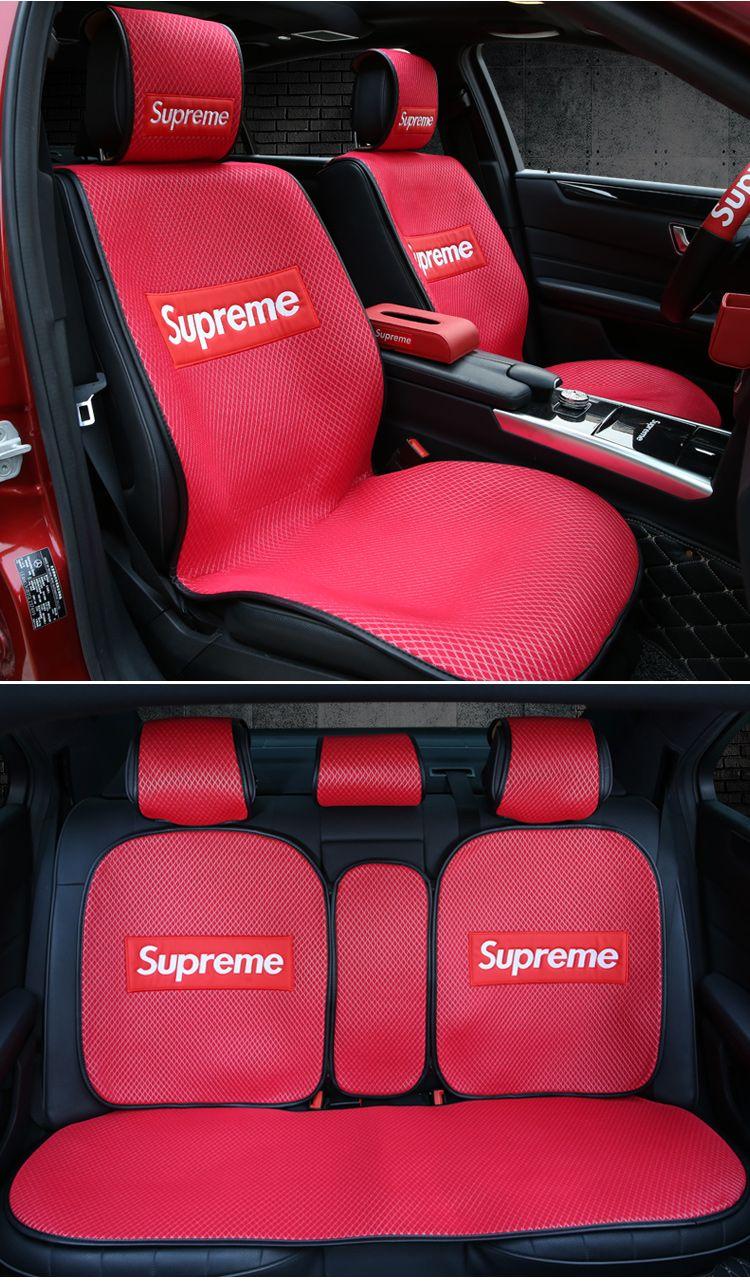 Supreme 車用品 Supremeのシートカバーは 5点セット 座席カバーセット 潮ブランドの自動車用品 通気性メッシュ 四季汎用座布団 シート カバー 自動車 車 用品