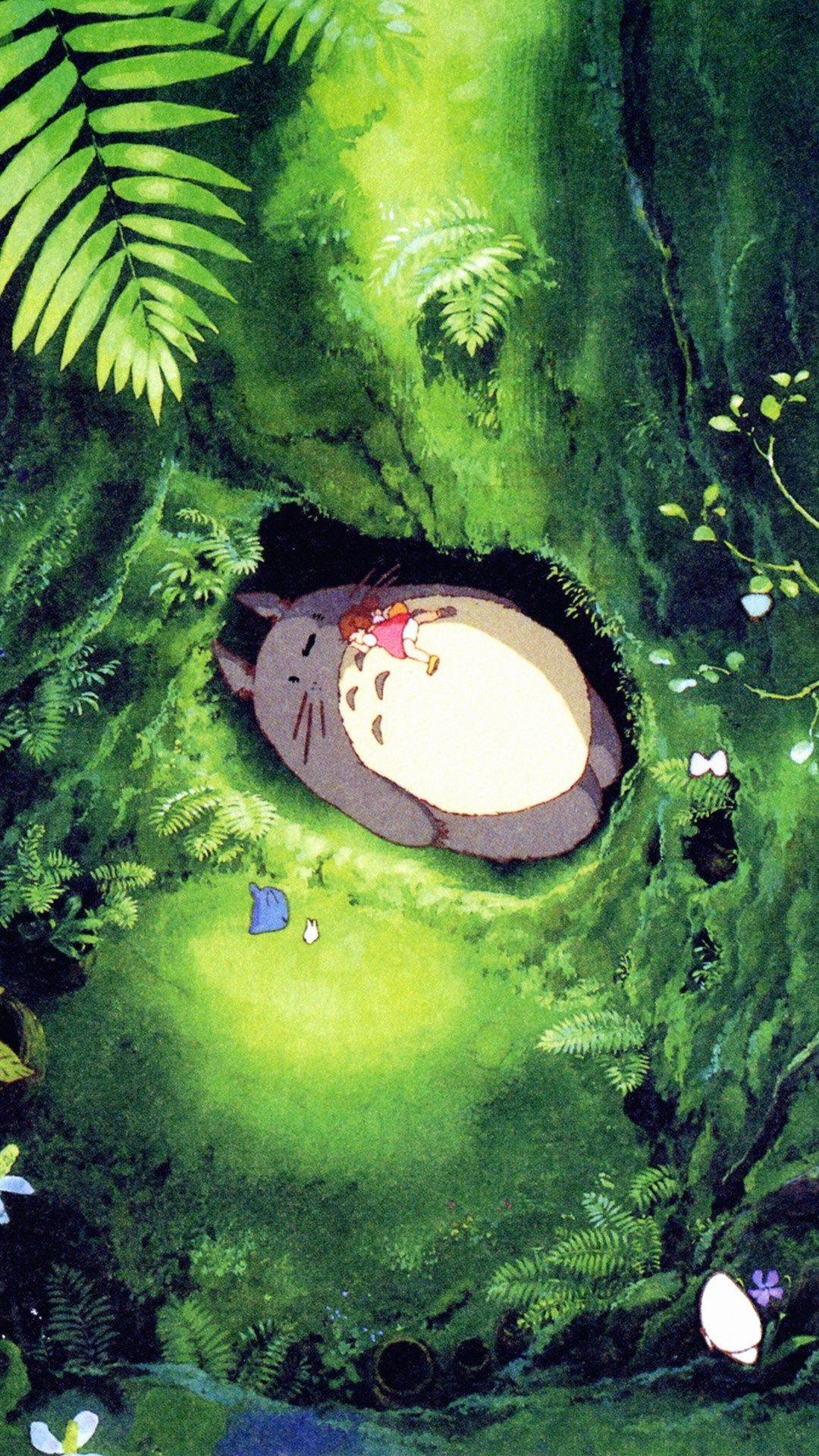 japan totoro art green anime illustration iphone photos ...